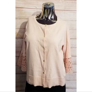 Anne Klein Pink Cardigan with Lace Detail